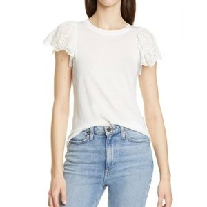 Rebecca Taylor Livy Eyelet Jersey Tee white Large